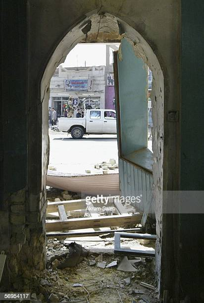 A damaged Sunni mosque which was bombed early morning is seen on February 28 2006 in Baghdad Iraq Sectarian violence continued as four bombs rocked...