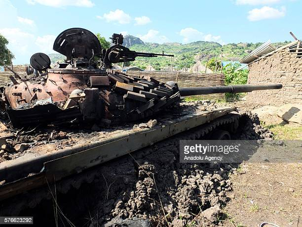 Damaged tank belongs to the SPLA, The Sudan People's Liberation Army is seen after clashes between SPLA and South Sudanese rebels in Jebel district...