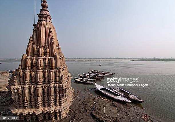 Damaged temple on the sacred river Ganges