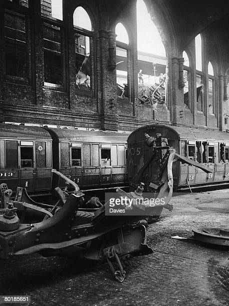 Damaged trains at Liverpool Street Station London after a German air raid in the first days of the Blitz 9th September 1940
