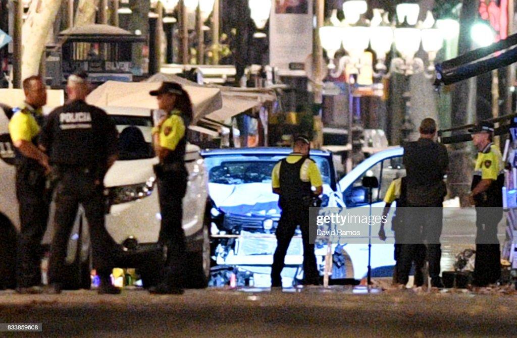 Van Hits Crowds In Barcelona's Las Ramblas : News Photo