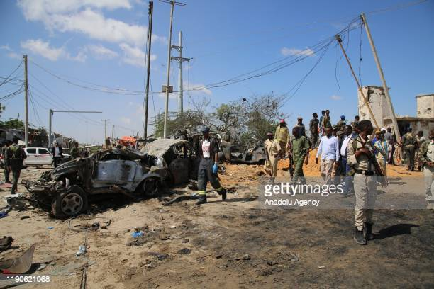 Damaged vehicle, used in the attack is seen at site after a bomb attack carried out to a checkpoint in Somalia's capital Mogadishu on December 28,...