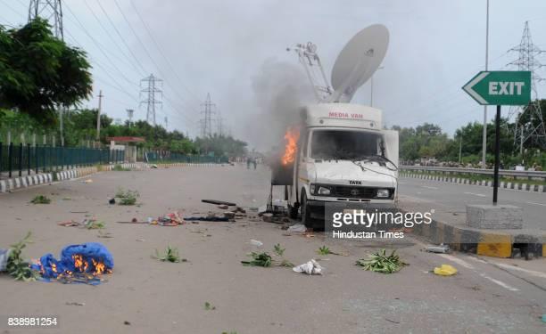 Damaged Vehicles during Clash between Dera Sacha Sauda followers and Security personals and media after the Dera chief Gurmeet Ram Rahim Singh Insan...