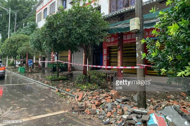 Damaged wall is seen after a 5.4 earthquake that killed two and injured a dozen in Luzhou, in China's southwestern Sichuan province on September 16,...