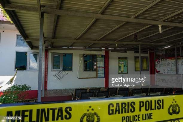 Damaged windows are seen after inmates escaped from the Class IIA Penitentiary in Lambaro Aceh Besar Aceh Indonesia on November 30 2018 At least 113...