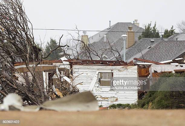Damages are seen after night tornado in Garland Texas on December 27 2015 At least 11 people lost their lives as tornadoes tore through Texas...