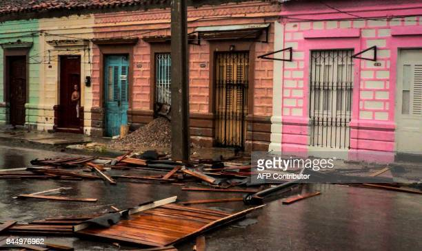 Damages caused by the passage of Hurricane Irma in Caibarien Villa Clara province 330km east of Havana on September 9 2017 Irma's blast through the...