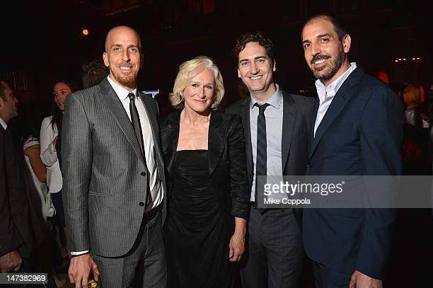 Damages Executive Producers Todd A Kessler Daniel Zelman and Glenn Kessler pose with actress Glenn Close at The DIRECTV Premiere event for the fifth...