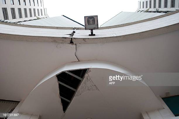 Damages on a building caused by an earthquake are seen on February 9 in Cali Valle del Cauca department Colombia A quake of 69 degrees on the Richter...