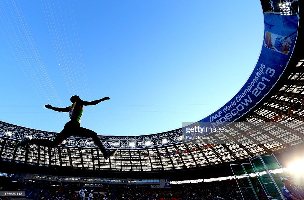 Damar Forbes of Jamaica competes in the Men's Long Jump final during Day Seven of the 14th IAAF World Athletics Championships Moscow 2013 at Luzhniki Stadium at Luzhniki Stadium on August 16, 2013 in Moscow, Russia.