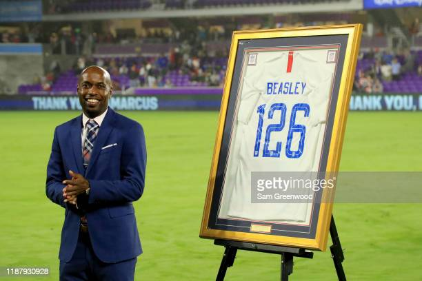 DaMarcus Beasley is honored in a pre-game ceremony prior to the CONCACAF Nations League match between the United States and Canada at Exploria...