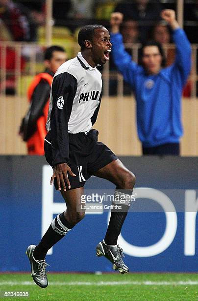 Damarcus Beasley of Eindhoven celebrates his goal during the UEFA Champions League First KnockOut Second Leg match between AS Monaco and PSV...