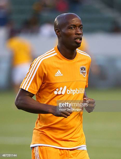 DaMarcus Beasley of Houston Dynamo warms up prior to the MLS match against the Los Angeles Galaxy at StubHub Center on March 21, 2015 in Los Angeles,...