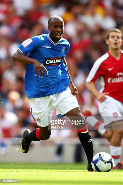 DaMarcus Beasley of Rangers runs with the ball during the Emirates Cup match between Arsenal and Glasgow Rangers at the Emirates Stadium on August 2...