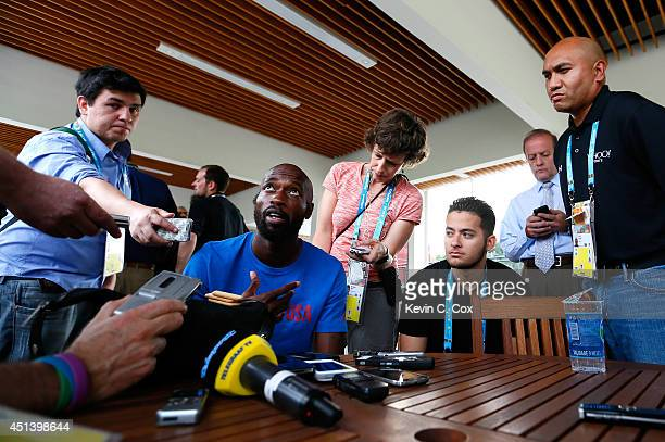 DaMarcus Beasley of the United States speaks to the media during training at Sao Paulo FC on June 28, 2014 in Sao Paulo, Brazil.
