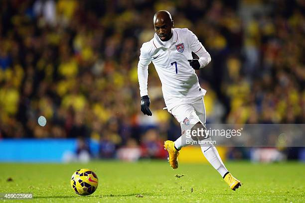 DaMarcus Beasley of the USA in action during the International Friendly between the USA and Colombia at Craven Cottage on November 14, 2014 in...