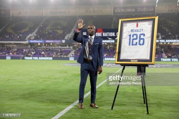 DaMarcus Beasley retired USMNT player being honored during a game between Canada and USMNT at Exploria Stadium on November 15, 2019 in Orlando,...