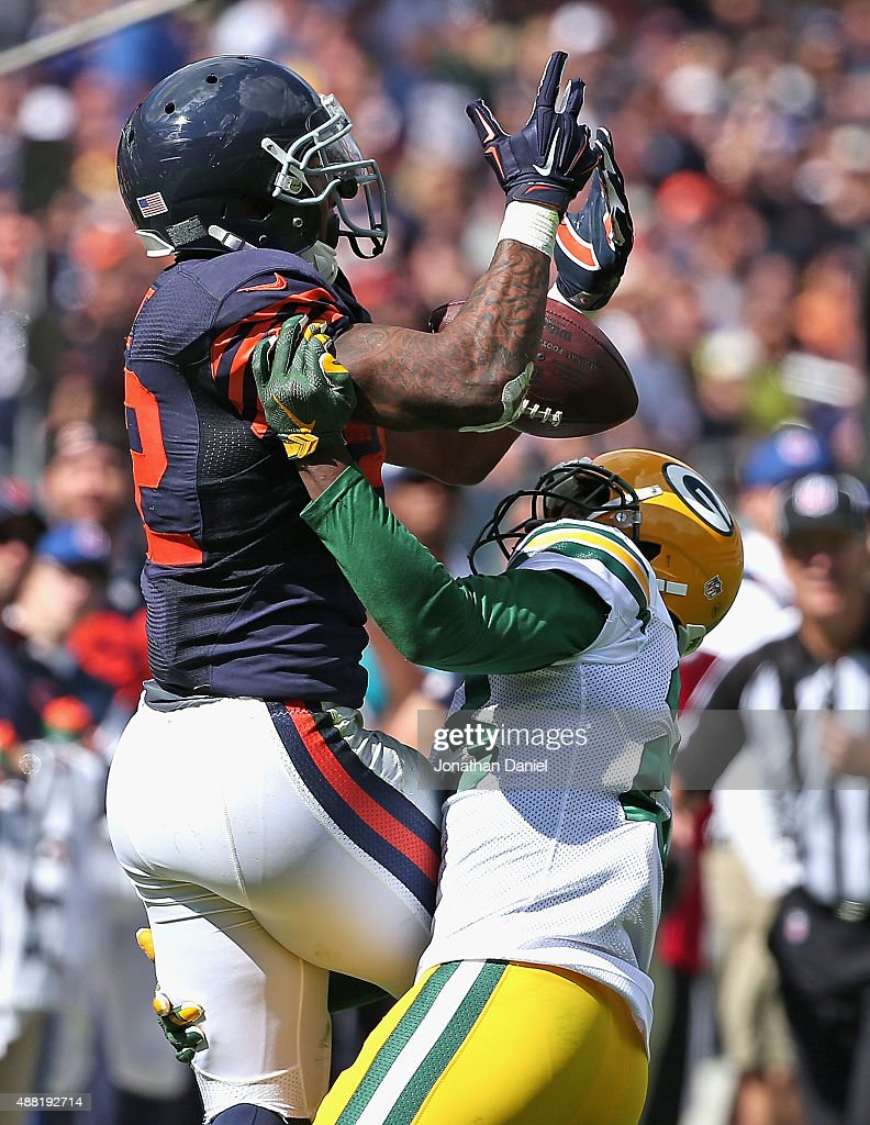 Damarious Randall #23 of the Green Bay Packers breaks up a pass intended for Matt Forte #22 of the Chicago Bears at Soldier Field on September 13, 2015 in Chicago, Illinois. The Packers defeated the Bears 31-23.