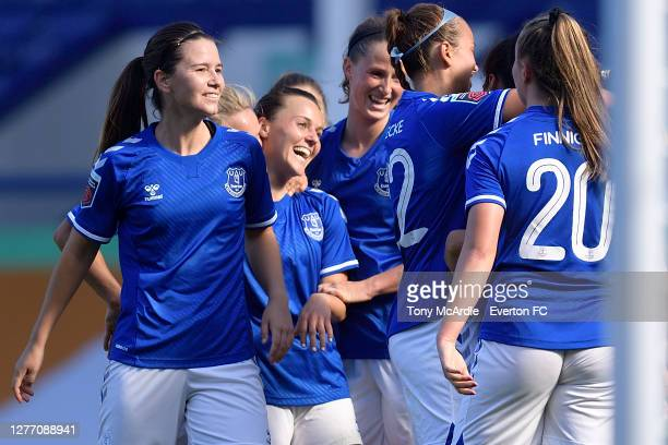 Damaris Egurrola Hayley Raso and Nicoline Sorensen of Everton Women and team mates celebrate the goal of Valerie Gauvin during the Women's FA Cup...