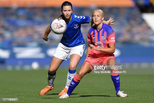 Damaris Egurrola of Everton Women with er eyes on the ball during the Women's FA Cup Quarter Final match between Everton and Chelsea at Goodison Park...