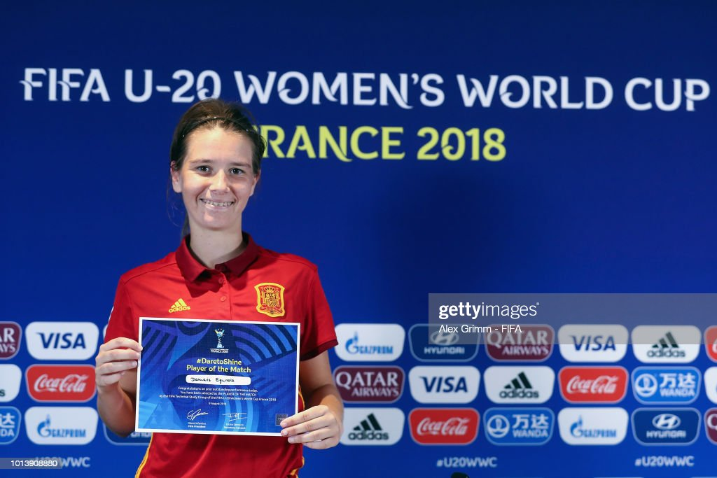 Damaris Egurrola of Spain poses for a photo after being awarded 'Player of the match' during the Bundesliga match betweening the FIFA U-20 Women's World Cup France 2018 group C match between Spain and Japan at Stade Guy-Piriou on August 9, 2018 in Concarneau, France.