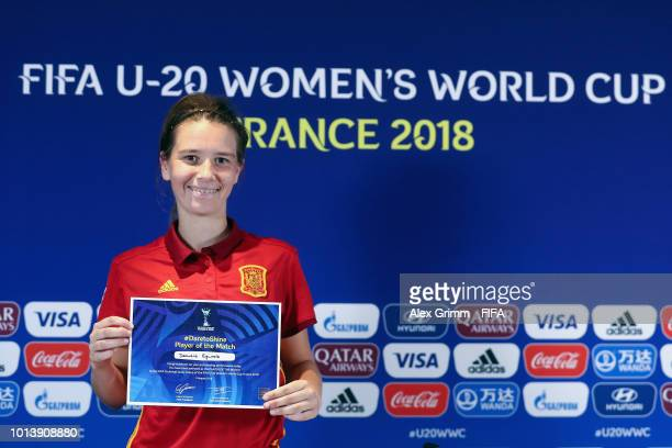 Damaris Egurrola of Spain poses for a photo after being awarded 'Player of the match' during the Bundesliga match betweening the FIFA U20 Women's...