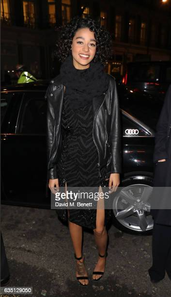 Damaris Goddrie arrives in an Audi at the ELLE Style Awards at 41 Conduit Street on February 13, 2017 in London, England.