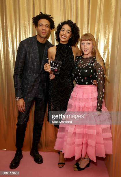 Damaris Godrie poses in the winners room with the Model of The Year award and Charlie CaselyHayford and Molly Goddard at the Elle Style Awards 2017...