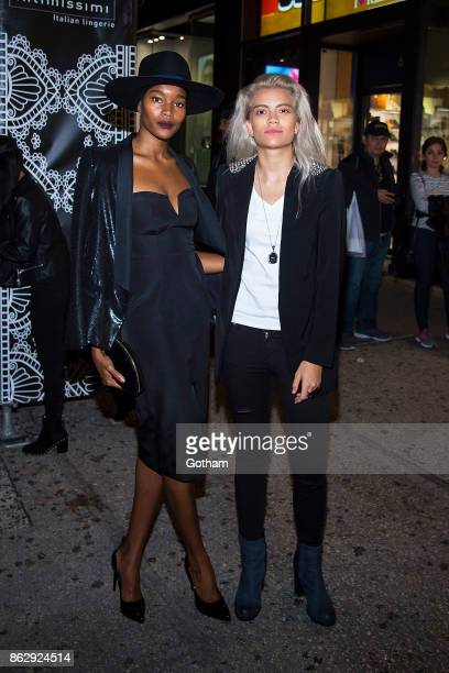 Damaris Lewis and Victoria Brito are seen in Midtown on October 18 2017 in New York City