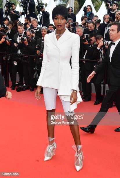 Damaris Lewis attends the screening of Blackkklansman during the 71st annual Cannes Film Festival at Palais des Festivals on May 14 2018 in Cannes...