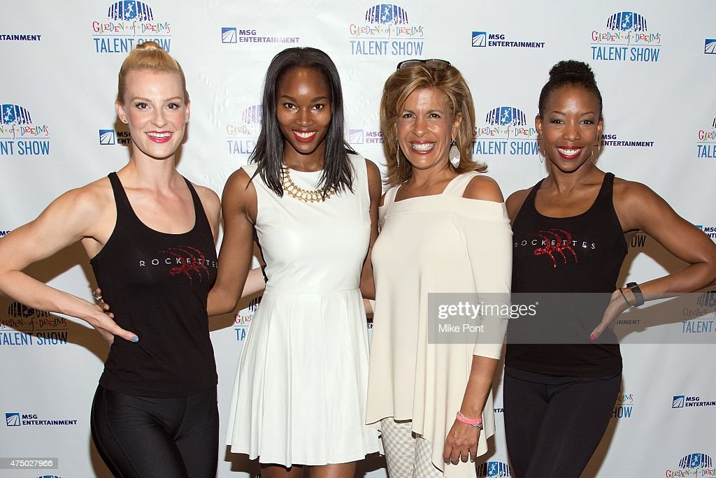 Damaris Lewis (2nd L), Hoda Kotb (2nd R), pose with Rockettes at the 2015 Garden of Dreams Talent Show rehearsal at Radio City Music Hall on May 28, 2015 in New York City.
