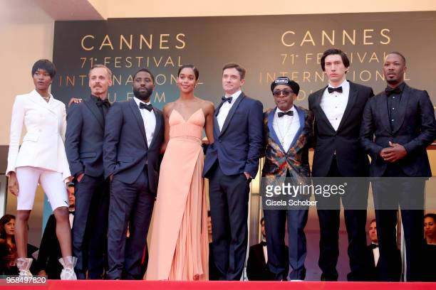 Damaris Lewis Jasper Paakkonen John David Washington Laura Harrier Topher Grace director Spike Lee Adam Driver and Corey Hawkins attend the screening...