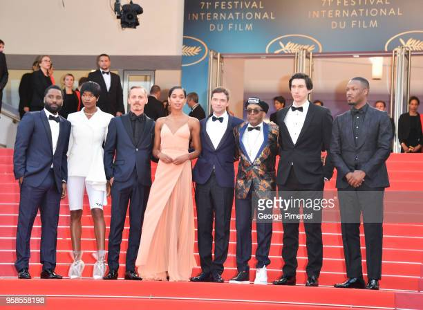 Damaris Lewis Jasper Paakkonen John David Washington Laura Harrier Topher Grace director Spike Lee Adam Driver and Corey Hawkins attends the...