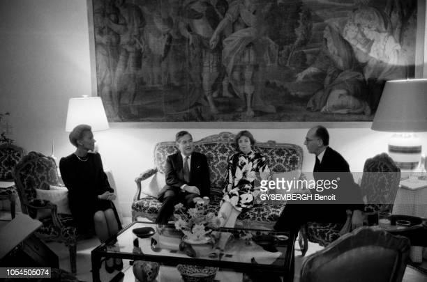 Damas Syrie JeanBernard RAIMOND ministre français des Affaires étrangères à Damas les 10 et 11 octobre 1987 pour des discussions sur le sort des...
