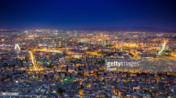 damascus by night - damascus stock pictures, royalty-free photos & images