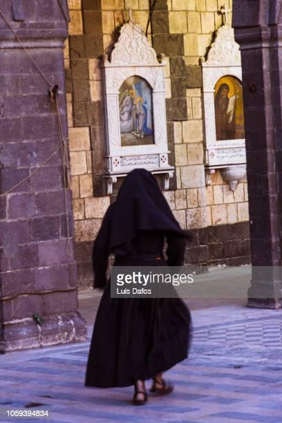 damascus, christian nun - nun stock-fotos und bilder