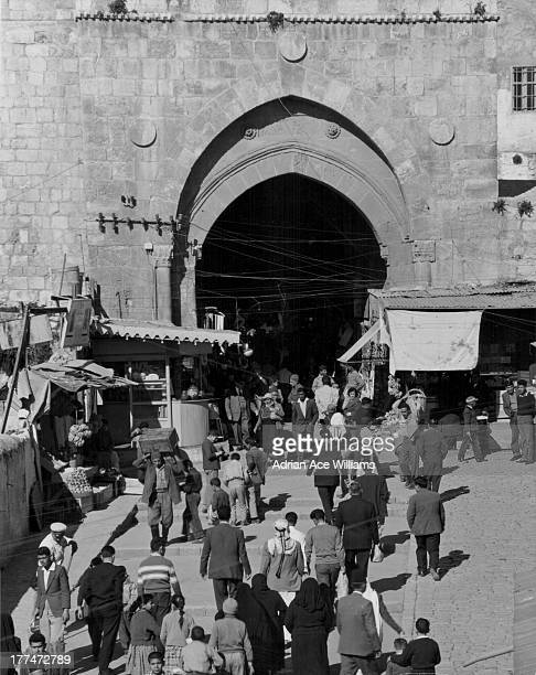 Damascus Gate, the main entrance to the Old City of Jerusalem, on the city's northwest side where the highway leads out to Nablus, Israel, circa...