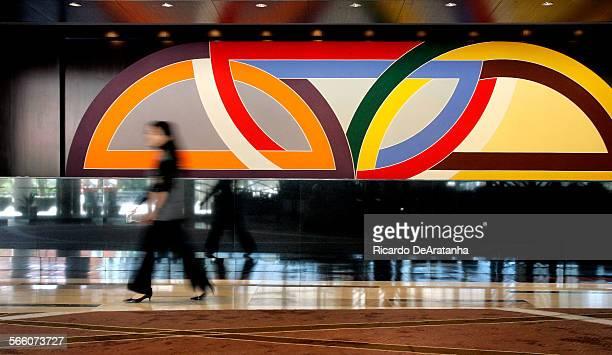 LAS VEGAS NV – NOVEMBER 19 2009 – Damascus Gate Variation I 1969 by Frank Stella decorates the registration desk of Vdara Hotel Spa at City Center...