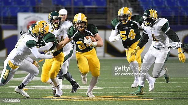 Damascus RB Jake Funk breaks a big run during the Maryland 3A football state championship game against Dundalk on December 3 2015 in Baltimore MD