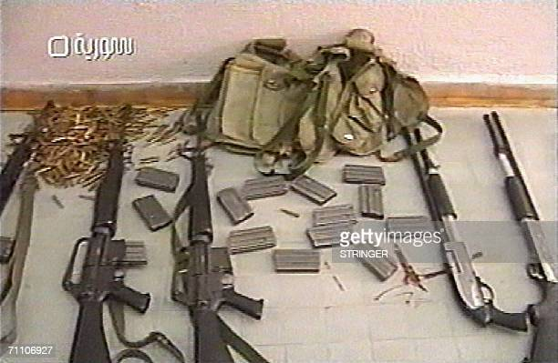 Frame grab from a Syrian television news broadcast 02 June 2006 shows shows a cache of weapons which were shown on the state television next to the...