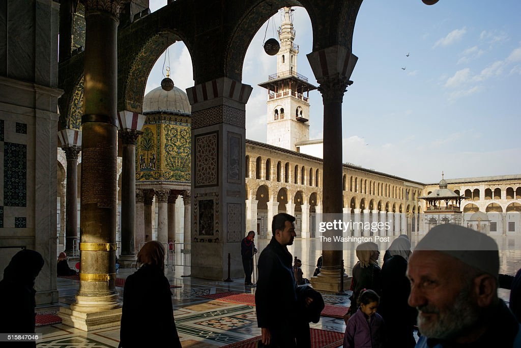 Damascus, Syria, March 8th, 2016:  Visitors at entrance of the  : News Photo