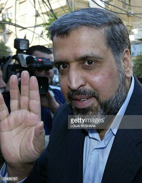 Ramadan Abdullah Shalah, the Secretary General of the Islamic Jihad, arrives to hold a joint press conference with other Palestinian officials in...