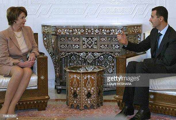 Syrian President Bashar alAssad meets with US House Speaker Nancy Pelosi at alShaab Palace in Damascus 04 April 2007 during her twoday trip to...