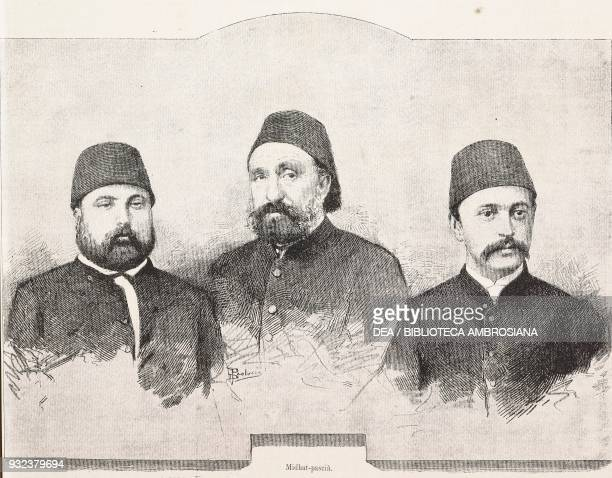 Damat Mahmud Pasha Midhat Pasha Nuri Pasha accused of the murder of Sultan Abdul Aziz Istanbul Turkey engraving from L'Illustrazione Italiana No 32...