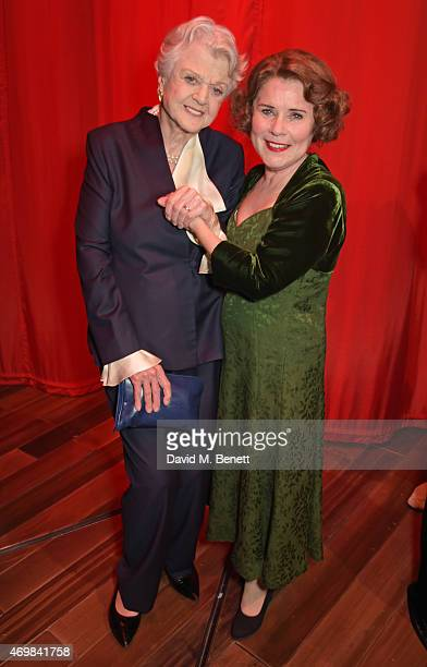 Dame Angela Lansbury and Imelda Staunton attends a post show drinks reception on stage following the press night performance of Gypsy at The Savoy...