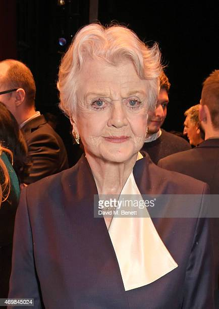 Dame Angela Lansbury attends a post show drinks reception on stage following the press night performance of Gypsy at The Savoy Theatre on April 15...