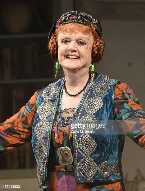Dame Angela Lansbury bows at the curtain call during the press night performance of Blithe Spirit at the Gielgud Theatre on March 18 2014 in London...