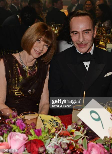 Dame Anna Wintour and John Galliano attend The 64th Evening Standard Theatre Awards at the Theatre Royal Drury Lane on November 18 2018 in London...