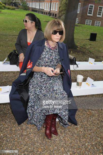 Dame Anna Wintour attends the Erdem front row during London Fashion Week September 2019 at Grays Inn Gardens on September 16, 2019 in London, England.
