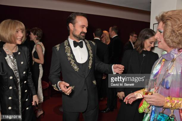 Dame Anna Wintour Evgeny Lebedev and Grayson Perry attend the 65th Evening Standard Theatre Awards in association with Michael Kors at the London...